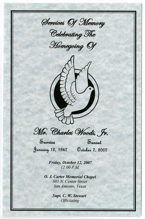 Primary view of object titled '[Funeral Program for Charles Woods, Jr., October 12, 2007]'.