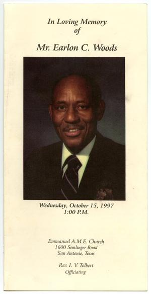 Primary view of object titled '[Funeral Program for Earlon C. Woods, October 15, 1997]'.