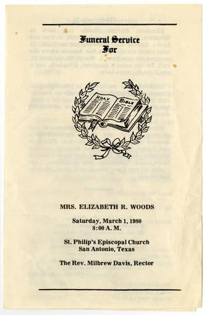 Primary view of object titled '[Funeral Program for Elizabeth R. Woods, March 1, 1980]'.