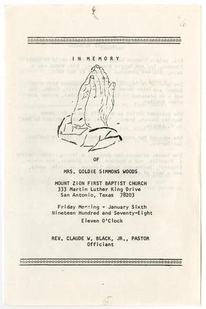 Primary view of object titled '[Funeral Program for Goldie Simmons Woods, January 6, 1978]'.