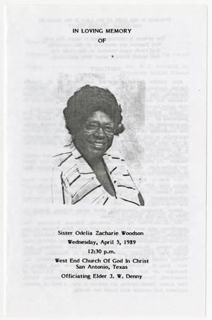 [Funeral Program for Odelia Zacharie Woodson, April 5, 1989]