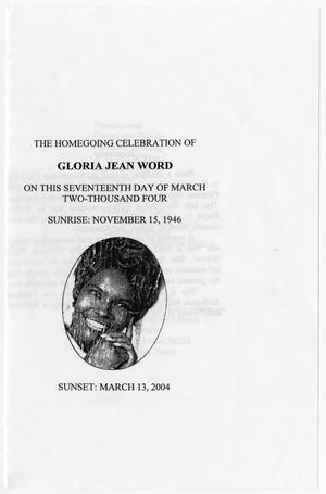 Primary view of object titled '[Funeral Program for Gloria Jean Word, March 17, 2004]'.