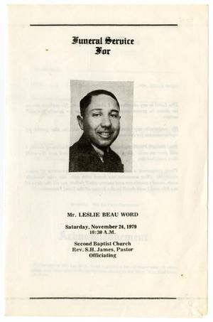 Primary view of object titled '[Funeral Program for Leslie Beau Word, November 24, 1979]'.