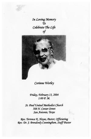 Primary view of object titled '[Funeral Program for Corinne Worley, February 13, 2004]'.