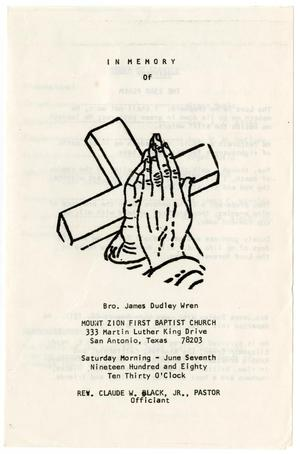 Primary view of object titled '[Funeral Program for James Dudley Wren, June 7, 1980]'.