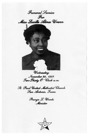 Primary view of object titled '[Funeral Program for Lucille Alma Wrenn, November 24, 1982]'.