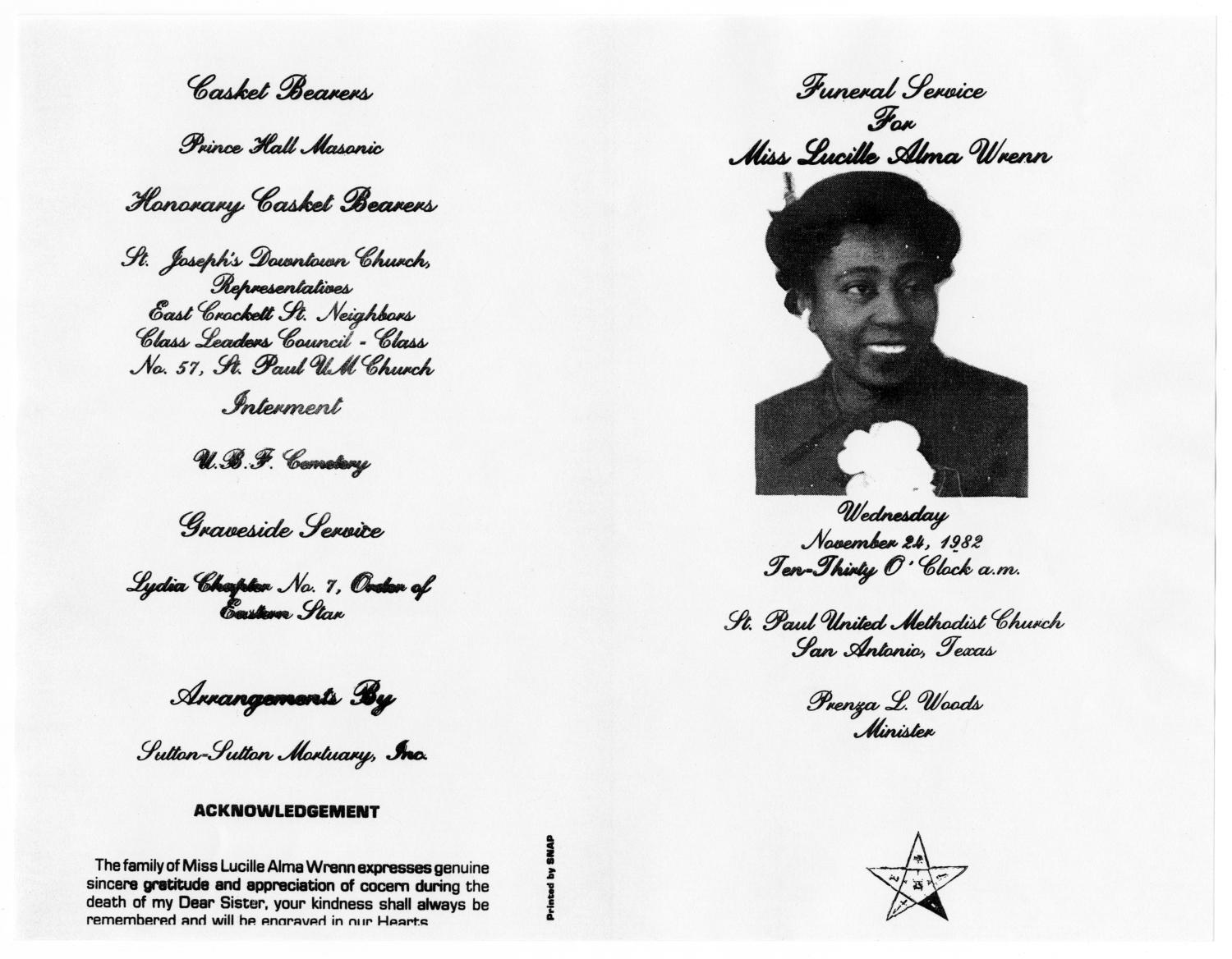 [Funeral Program for Lucille Alma Wrenn, November 24, 1982]                                                                                                      [Sequence #]: 3 of 3