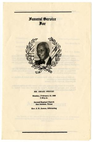 Primary view of object titled '[Funeral Program for Israel Wricks, February 18, 1980]'.