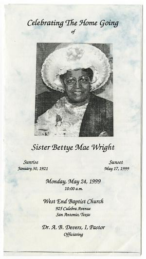 Primary view of object titled '[Funeral Program for Bettye Mae Wright, May 24, 1999]'.