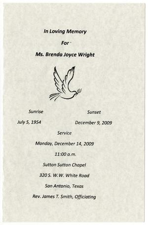 Primary view of object titled '[Funeral Program for Brenda Joyce Wright, December 14, 2009]'.