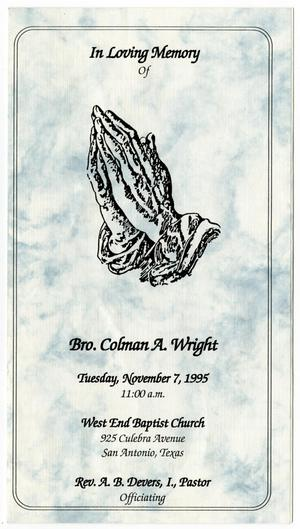 Primary view of object titled '[Funeral Program for Colman A. Wright, November 7, 1995]'.