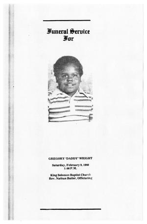 Primary view of object titled '[Funeral Program for Gregory Wright, February 9, 1980]'.