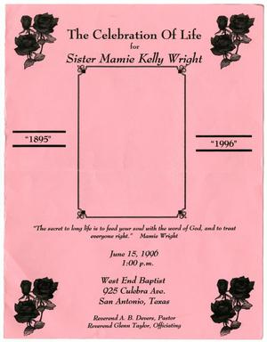 Primary view of object titled '[Funeral Program for Mamie Kelly Wright, June 15, 1996]'.