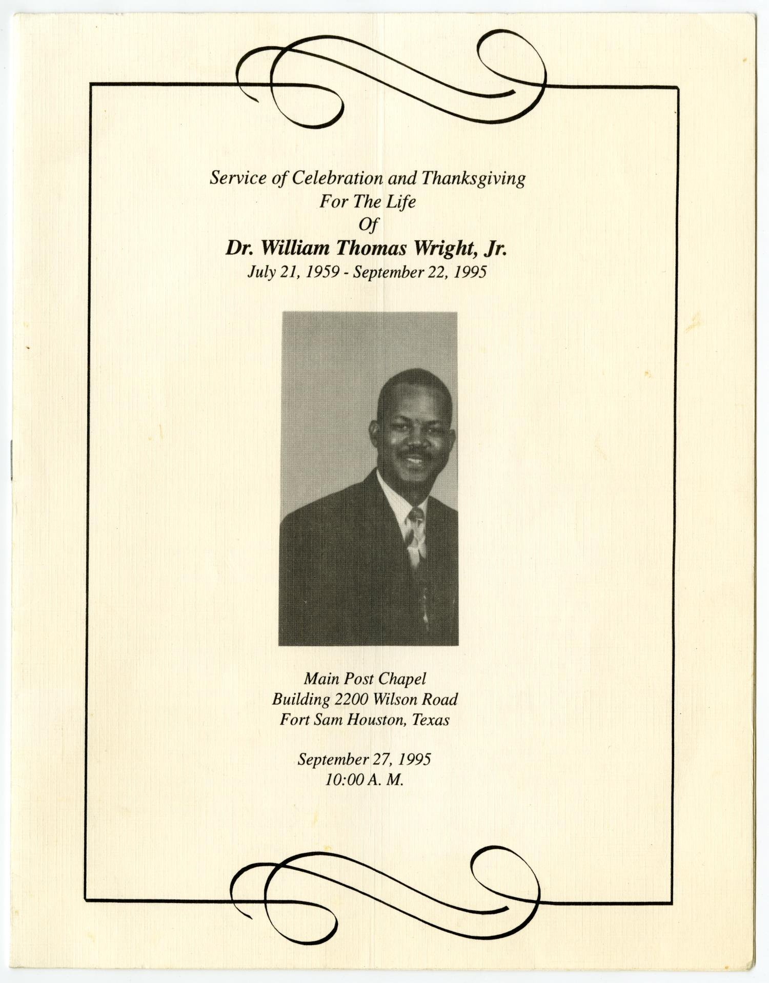 [Funeral Program for William Thomas Wright, Jr., September 27, 1995]                                                                                                      [Sequence #]: 1 of 14