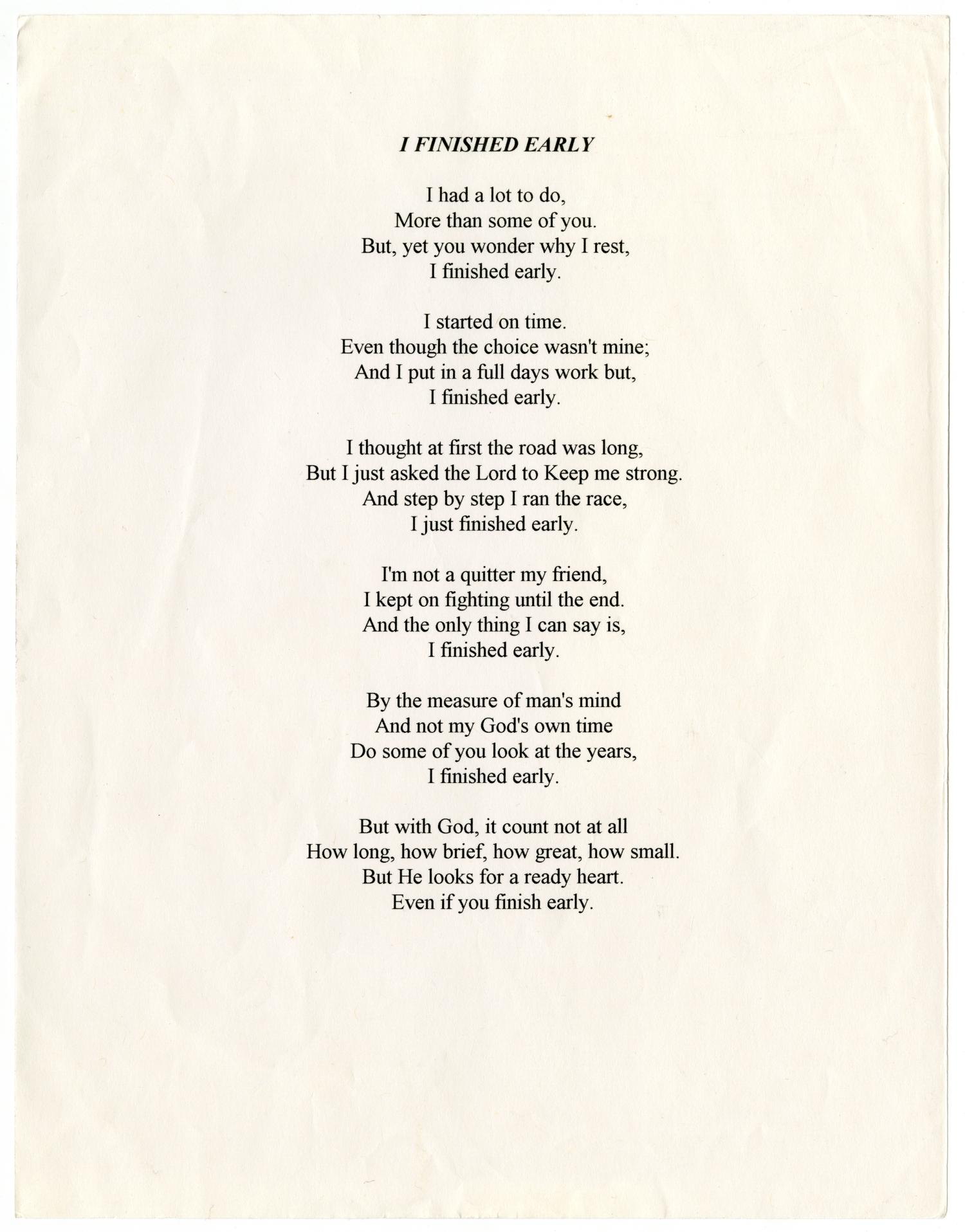 [Funeral Program for William Thomas Wright, Jr., September 27, 1995]                                                                                                      [Sequence #]: 10 of 14