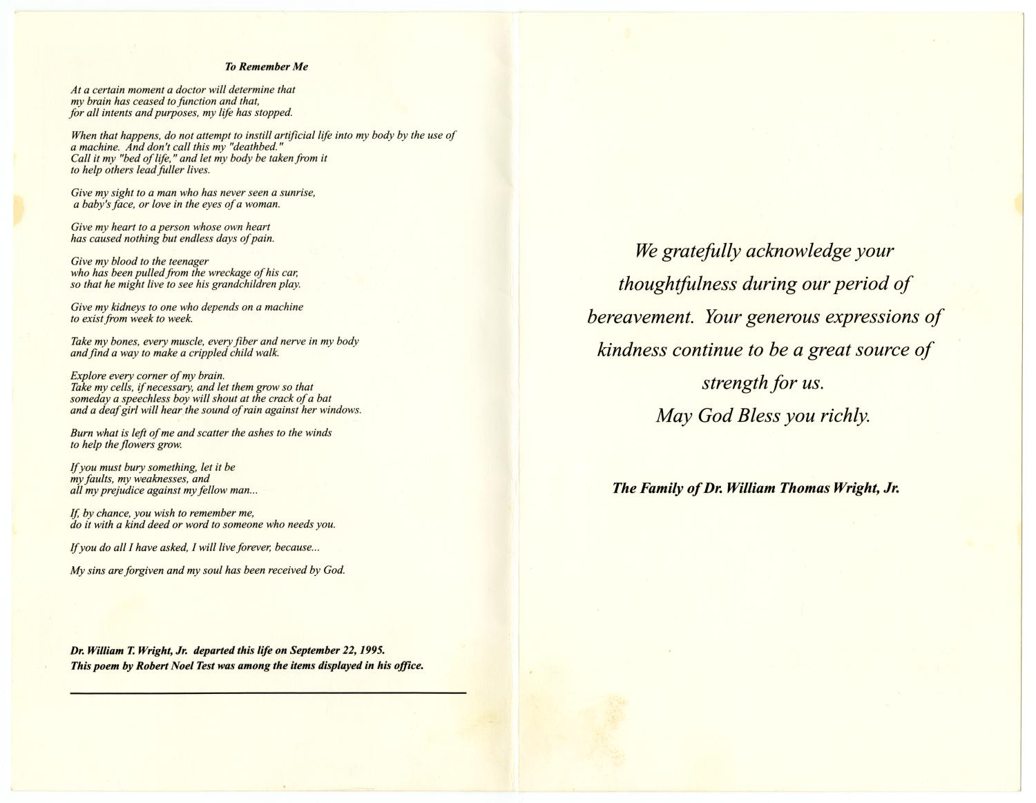 [Funeral Program for William Thomas Wright, Jr., September 27, 1995]                                                                                                      [Sequence #]: 13 of 14