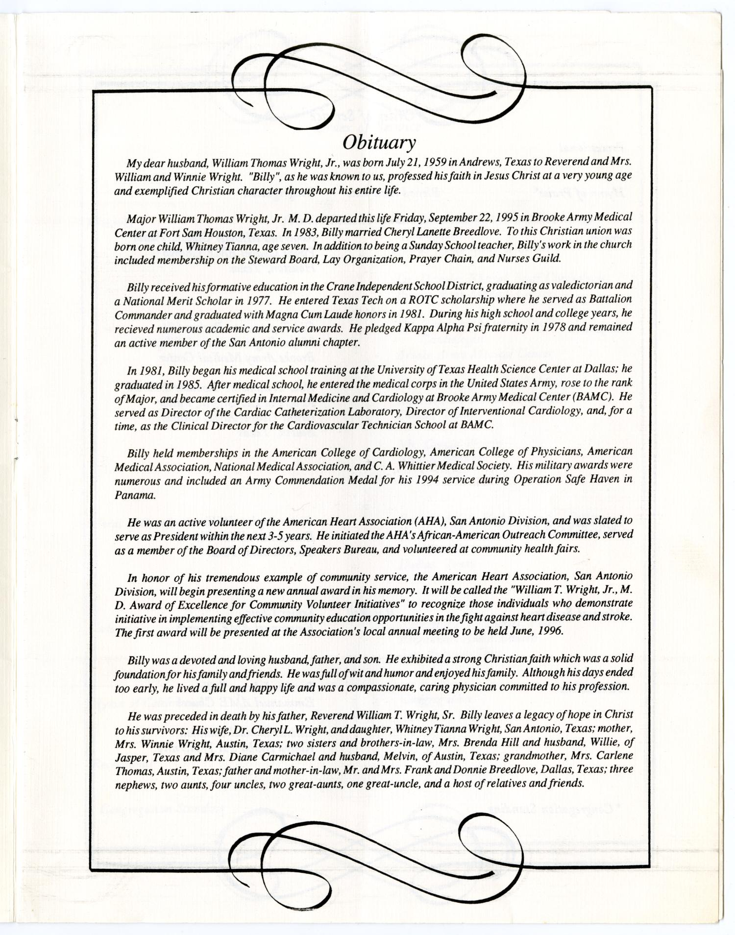 [Funeral Program for William Thomas Wright, Jr., September 27, 1995]                                                                                                      [Sequence #]: 3 of 14