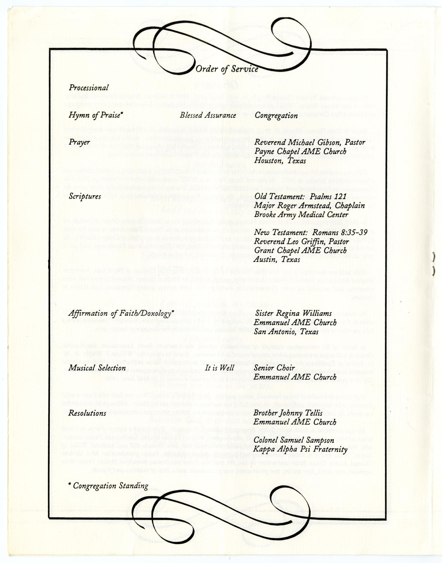 [Funeral Program for William Thomas Wright, Jr., September 27, 1995]                                                                                                      [Sequence #]: 4 of 14