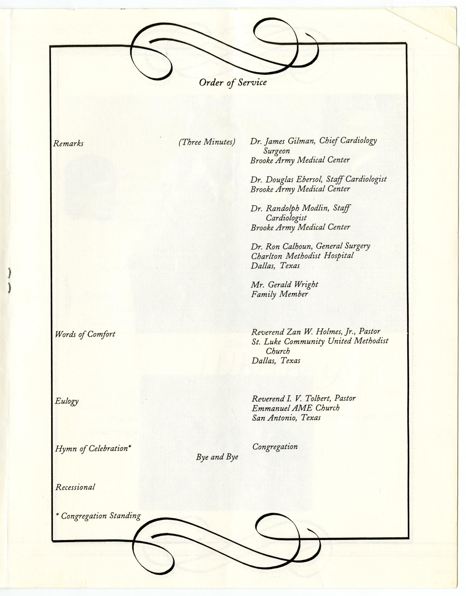[Funeral Program for William Thomas Wright, Jr., September 27, 1995]                                                                                                      [Sequence #]: 5 of 14