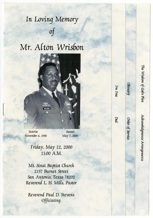 Primary view of object titled '[Funeral Program for Alton Wrisbon, May 12, 2000]'.