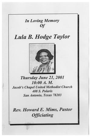 Primary view of object titled '[Funeral Program for Lula B. Hodge Taylor, June 21, 2001]'.