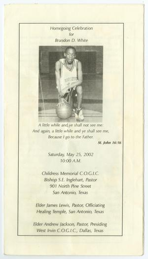 Primary view of object titled '[Funeral Program for Brandon D. White, May 25, 2002]'.