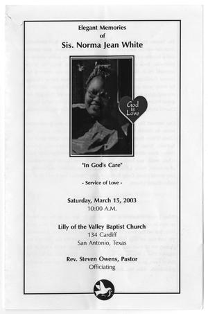 Primary view of object titled '[Funeral Program for Norma Jean White, March 15, 2003]'.