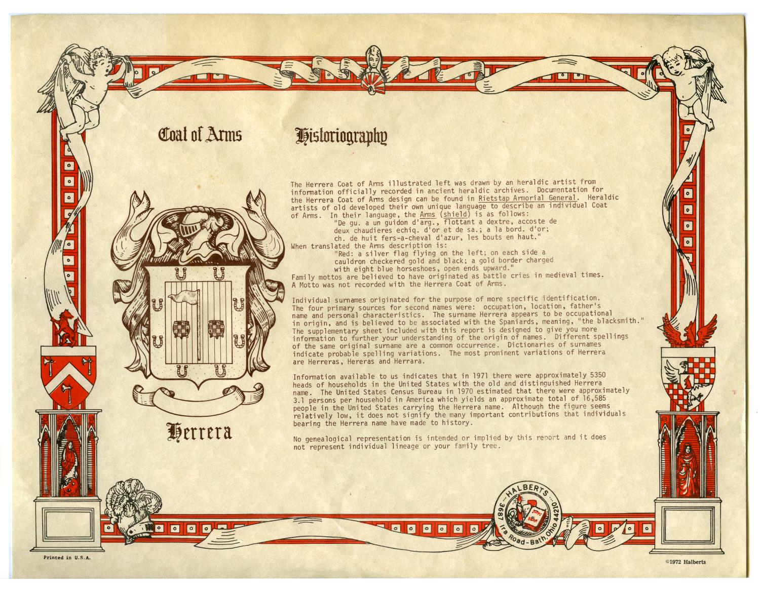 Historiography And Coat Of Arms For Herrera Family The