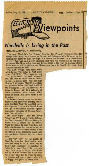 Primary view of object titled 'Editor viewpoints: Needville is living in the past'.