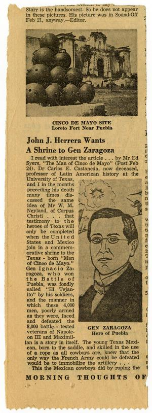 Primary view of object titled 'John J. Herrera Wants A Shrine to Gen Zaragoza, page one'.