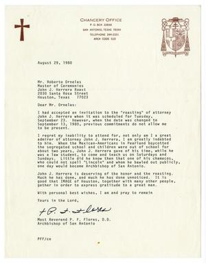 Primary view of object titled '[Letter from Reverend P. F. Flores to Roberto Ornelas - 1980-08-29]'.