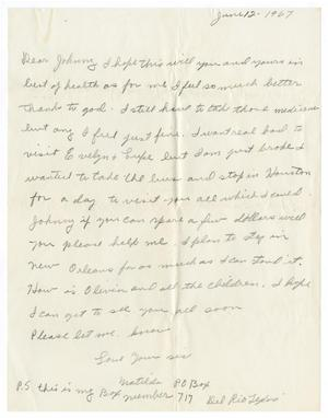 Primary view of object titled '[Letter from Matilda Gonzales to John Herrera - 1967-06-12]'.