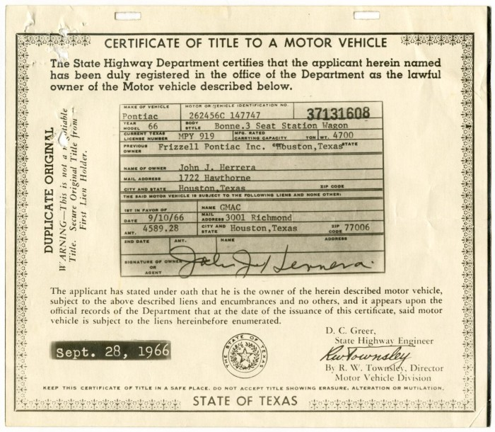Certificate of Title to a Motor Vehicle - The Portal to Texas History