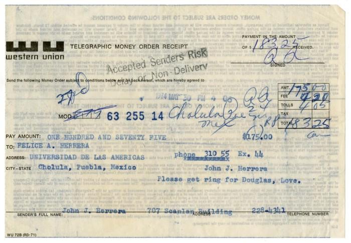 western union money order receipt from john j herrera to felice a
