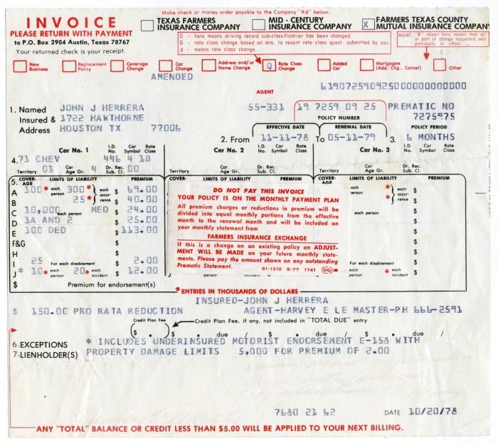Automobile Insurance Invoice Farmers Texas County Mutual Insurance
