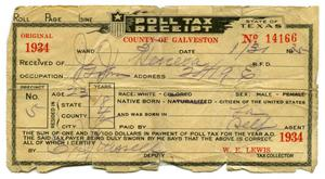 Primary view of object titled '[Poll tax receipt for John J. Herrera, County of Galveston - 1934]'.
