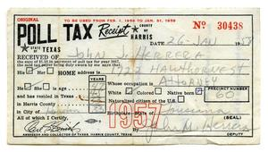 Primary view of object titled '[Poll tax receipt for John J. Herrera, County of Harris - 1957]'.