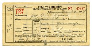 Primary view of object titled '[Poll tax receipt for Olivia C. Herrera, County of Harris  - 1937]'.