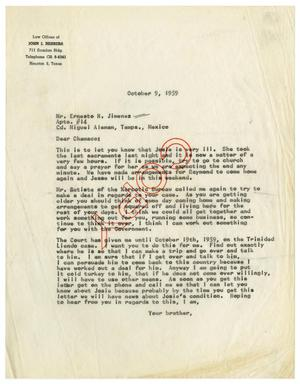 Primary view of object titled '[Letter from John J. Herrera to Ernesto Herrera - 1959-10-09]'.