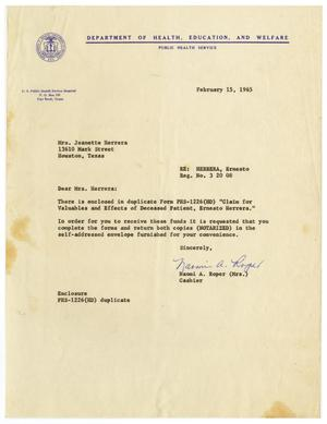 Primary view of object titled '[Letter from Naomi A. Roper to Jeanette Herrera - 1965-02-15]'.