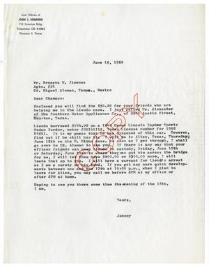 Primary view of object titled '[Letter from John J. Herrera to Ernesto Herrera - 1959-06-15]'.