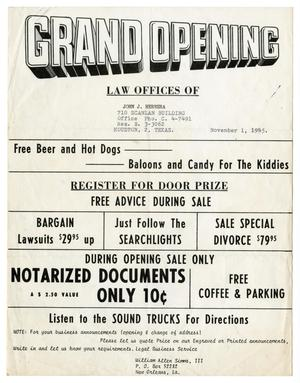 Primary view of object titled '[Flyer announcing the grand opening of the Law Offices of John J. Herrera]'.