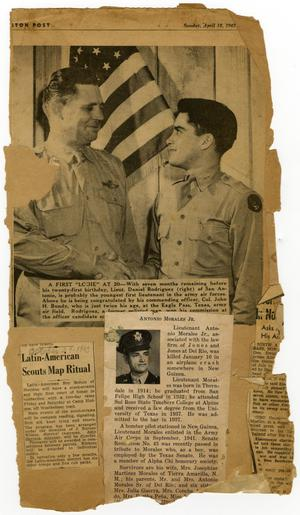 "[Clipping from scrapbook - includes article, ""Latin American Scouts Map Ritual,"" letter and envelope]"