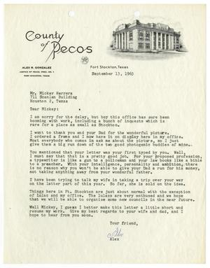 Primary view of object titled '[Letter from Alex R. Gonzalez to John M. Herrera - 1963-09-13]'.