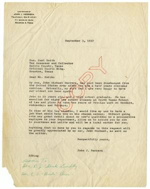 Primary view of object titled '[Letter from John J. Herrera to Carl Smith - 1957-09-03]'.
