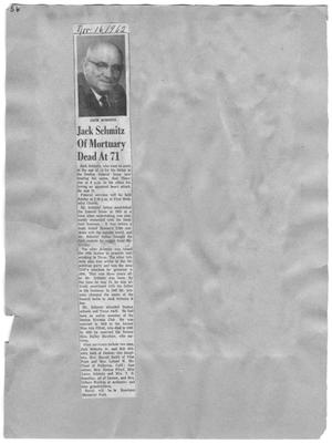 Primary view of object titled 'Jack Schmitz of Mortuary Dead At 71'.