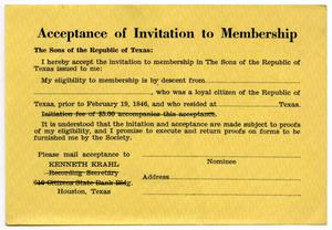 Primary view of object titled 'Acceptance of Invitation to Membership, The Sons of the Republic of Texas'.