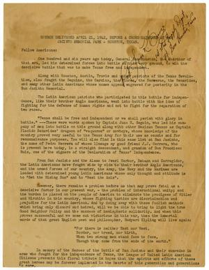 Primary view of object titled '[Speech by John J. Herrera for San Jacinto Day - 1942-04-21]'.