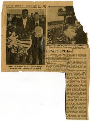 Primary view of object titled '[Article on San Jacinto Day Celebration - 1958-04-22]'.