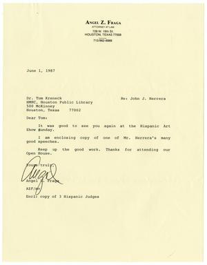 [Letter from Angel Fraga to Tom Kreneck - 1987-06-01]
